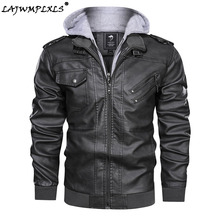 Casual New Mens Outwear Bomber Vintage Autumn Black PU Leather Jacket Slim Fit Motorcycle Biker Coats Removable Hood