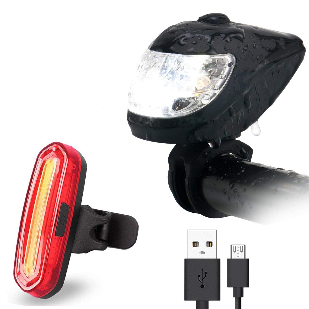 Bicycle Bike Light Cycling Front Rear Light 6 Mode USB Rechargeable Lamp Bike Ta