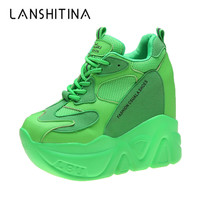 2019 Women Platform Sneakers Autumn Breathable Wedges Casual Shoes 12.5CM High Heels Thick Sole Sneakers Woman Deportivas Mujer