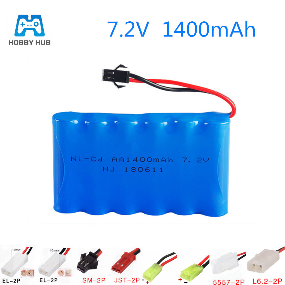 7.2v 1400mAh for RC Cars Boat guns AA Ni-MH Rechargeable battery TOYS battery 7.2 v  nimh aa 1400 mah battery Off-road vehicle