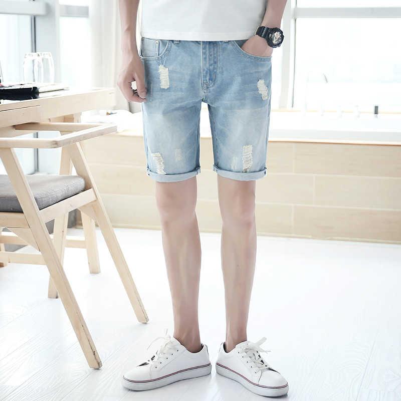 Zomer Mannen Casual Shorts Jeans Katoen Slanke Mode Dunne Shorts Hipster Streetwear Zakken Erkek Giyim Vanquish Fitness XX60MS