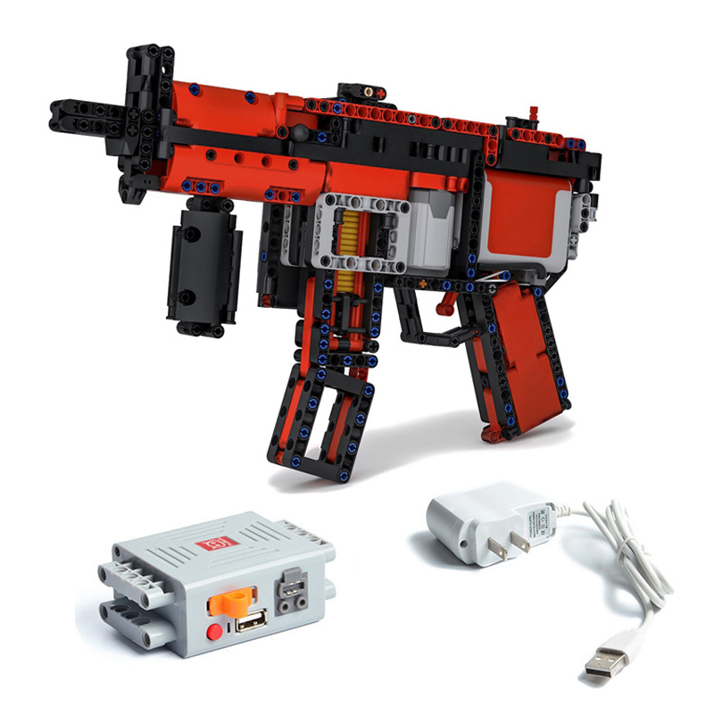 NEW Machinery Moc-29369 Building Blocks Continuous Firing Bullet MP5 Motors Submachinegun Parts DIY Model Fit For Logos Technic