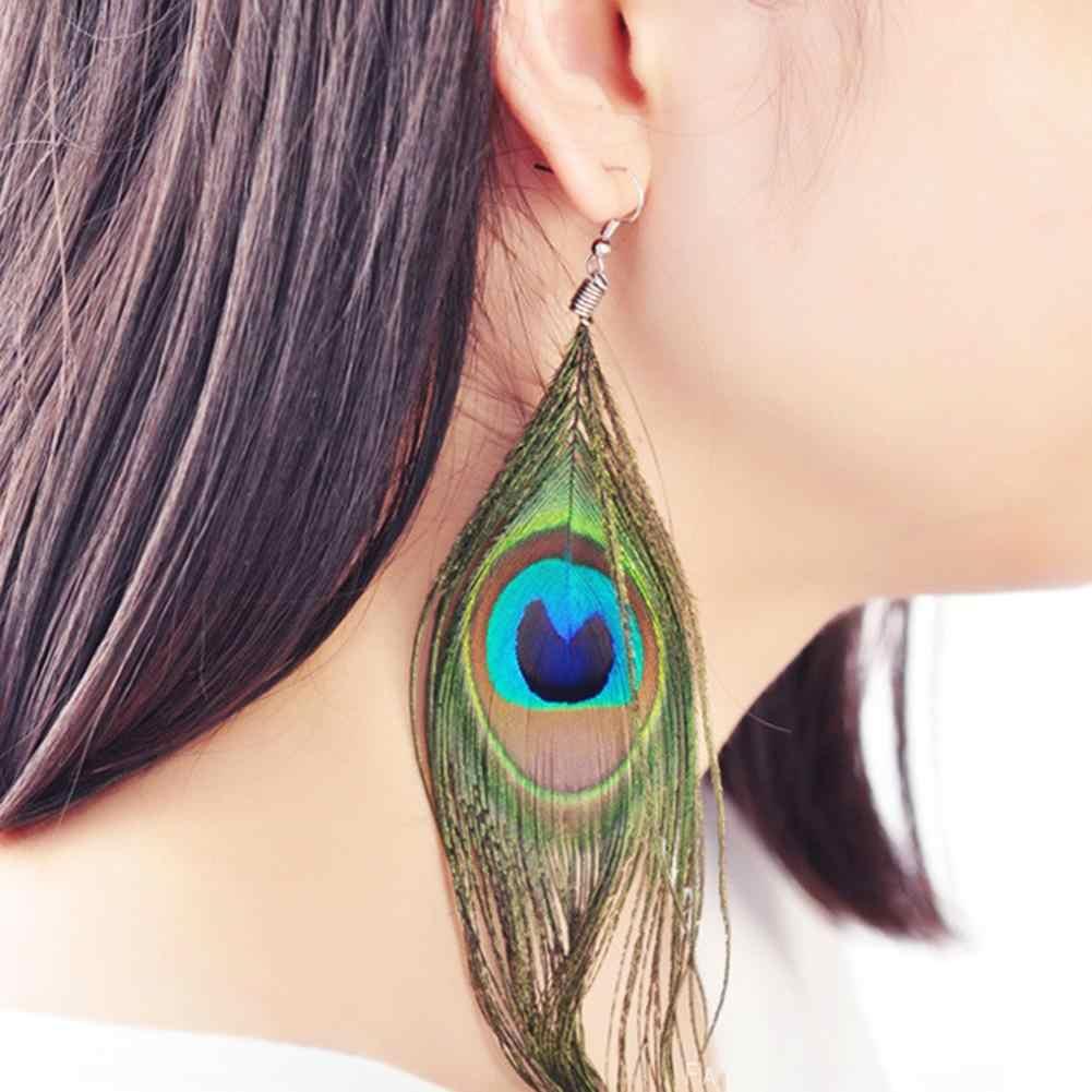 2019 ผู้หญิงนกยูง Feather Dangle Hook ต่างหู Long Drop เครื่องประดับตกแต่งของขวัญ