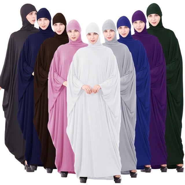Ramadan Abaya Muslim Women Hooded Maxi Dress Islam Hijab Prayer Full Cover Robe Kaftan Jilbab Arabic Clothing Worship Service