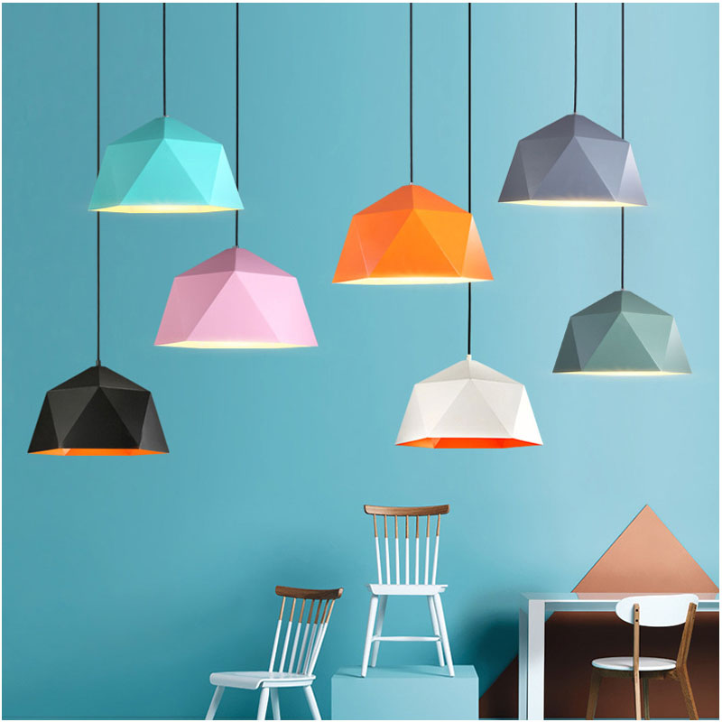 Suspension lumières coloré nordique suspension lampe nordique vintage lampe loft décor design moderne salle à manger cuisine luminaire led