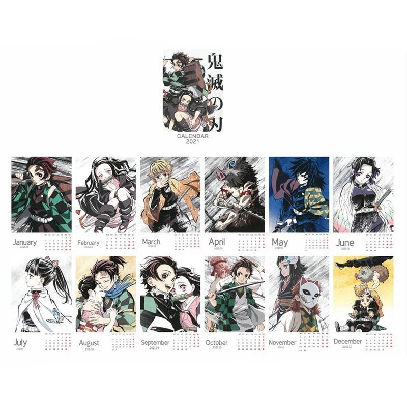 2021 Anime Demon Slayer Kimetsu No Yaiba Desk Calendar Kamado Tanjirou Cartoon Figure Desk Calendars Daily Schedule Planner 6