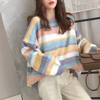 Autumn Color Striped Korean Sweater Womens For Autumn 2019 Loose Rainbow Knitted Pullover Women Sweater Jumpers