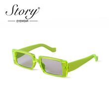 Story vintage green rectangle sunglasses women men brand designer fashion Leopar