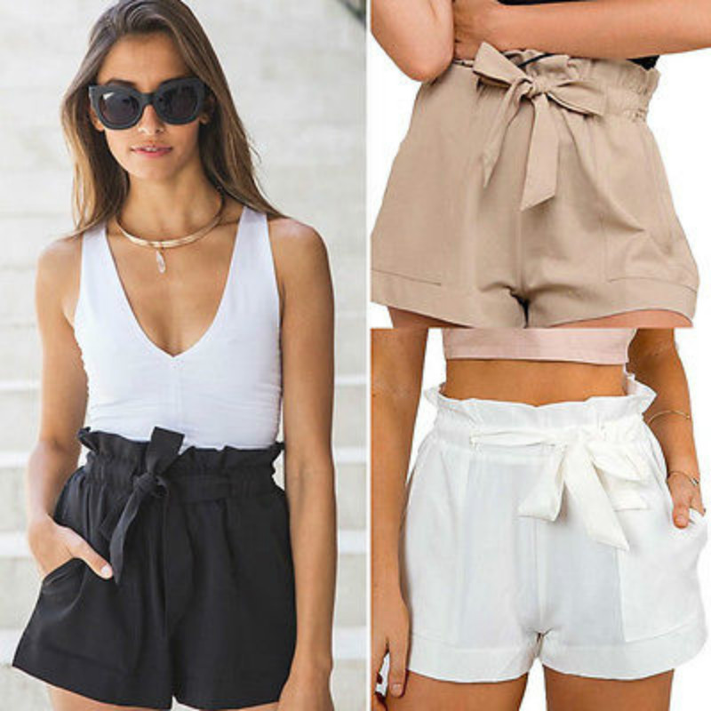 Summer <font><b>Sexy</b></font> High Waist <font><b>Shorts</b></font> Women Casual Solid Bow <font><b>Short</b></font> Beach <font><b>Black</b></font> White <font><b>Shorts</b></font> Trousers Mujer Feminino image