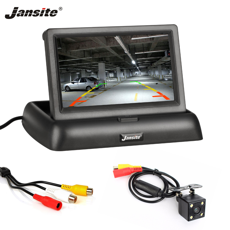 Jansite 4 3inch Car Monitors TFT LCD Car Rear View monitor Display Parking Rearview System For Backup Reverse Camera Support DVD
