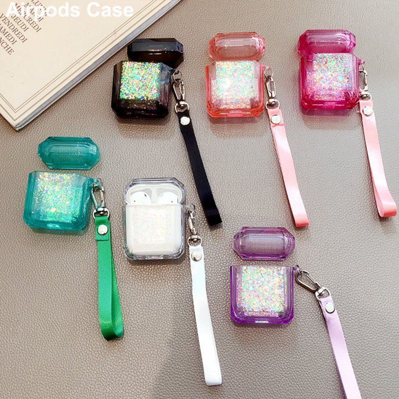 Hard Drop Glue Case For Apple Airpods Shockproof Glitter Cover For Apple AirPods Earphone Cases For Air Pods Protector Case