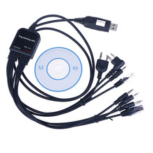 8 in 1 Computer USB Programming Cable for kenwood For baofeng motorola yaesu for icom Handy walkie talkie car radio CD Software(China)