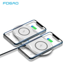 FDGAO 2 in 1 Dual 10W Qi Wireless Charger For iPhone X XS Max XR 8 Plus Samsung S10 S9 Note 10 9 Fast Wireless Charging Dock Pad