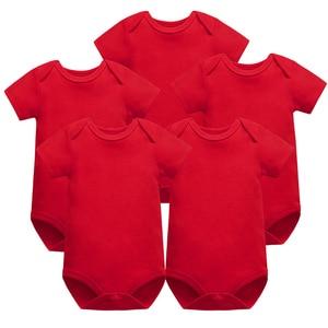 Image 1 - 5 개/몫 아기 Bodysuits 신생아 옷 몸 Bebe 짧은 소매 흰색 여름 브랜드 새로운 유아 Jumpsuit 아기 소녀 소년 옷