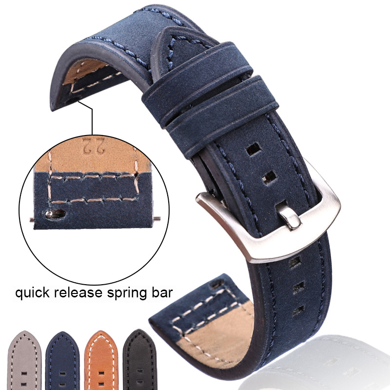 HENGRC Genuine Leagher Watchbands Bracelet Black Blue Gray Brown Cowhide Watch Strap For Woemn Men 18 20mm 22mm 24mm Wrist Band