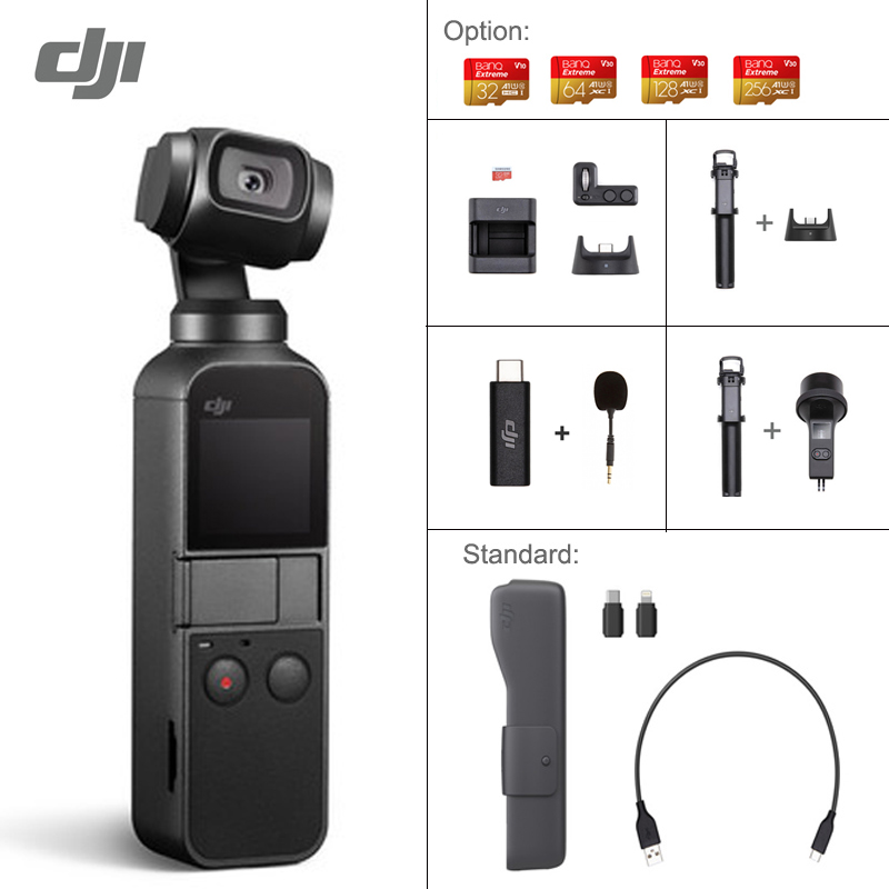 DJI Osmo Pocket 3-axis Stabilized Handheld Camera With Smartphone 4K 60fps Video Option Expansion Kit/Micro SD Card In Stock