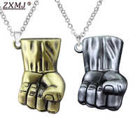 ZXMJ Marvel Avengers 4 Fist Necklace invincible Hulk 3D stereo Fist Pendant necklace Movie around metal 2 colors for fans gift