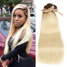 Rebecca Ombre blond wiązki malezyjski prosto Remy ludzki włos 1/3/4 brązowe korzenie T4/613 miód blond wiązki 10 do 26 cali