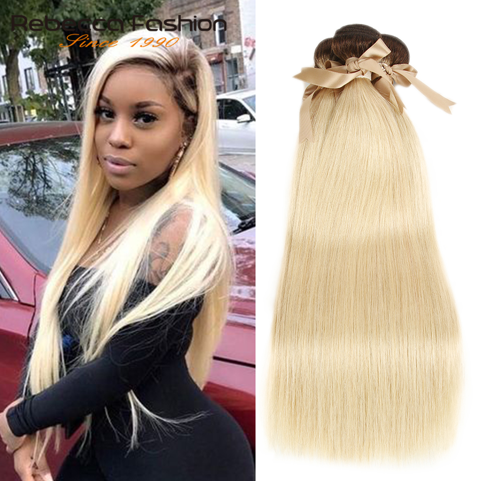 Rebecca Ombre Blonde Bundles Malaysian Straight Remy Human Hair 1/3/4 Brown Roots T4/613 Honey Blonde Bundles 10 to 26 Inches image