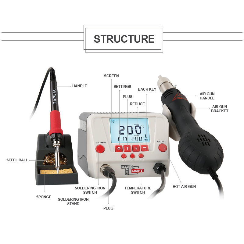 Tools : Welding Machine 60w - 90w Soldering Station Adjustable Electric Iron Steel LCD Display Constant Temperature With Hot Air Gun
