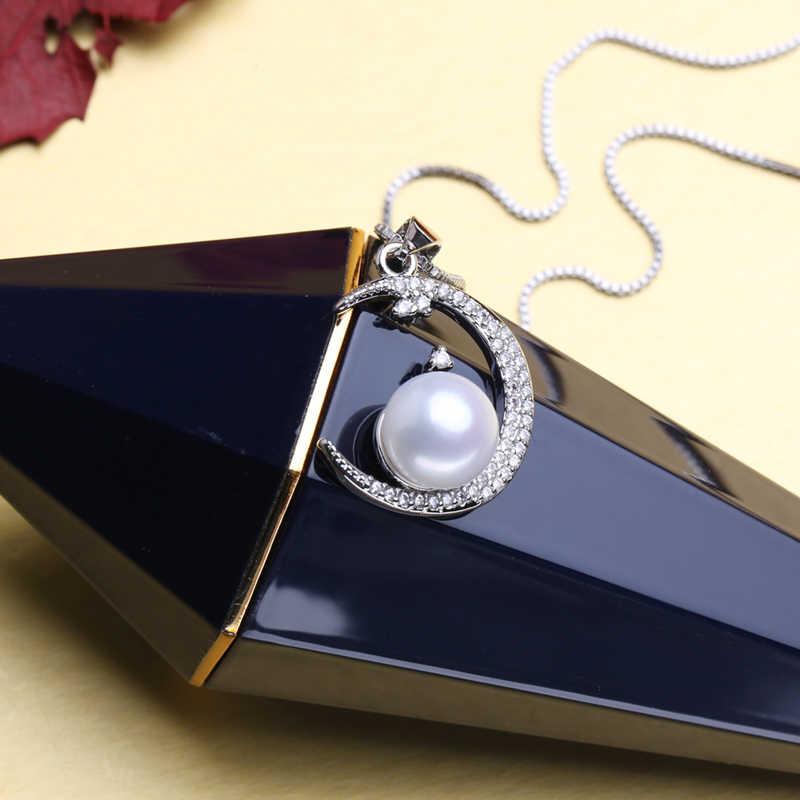 Fenasy 925 conjuntos de jóias de prata esterlina natural pérola do parafuso prisioneiro brincos personalizado boêmio lua pingente corrente colar para as mulheres