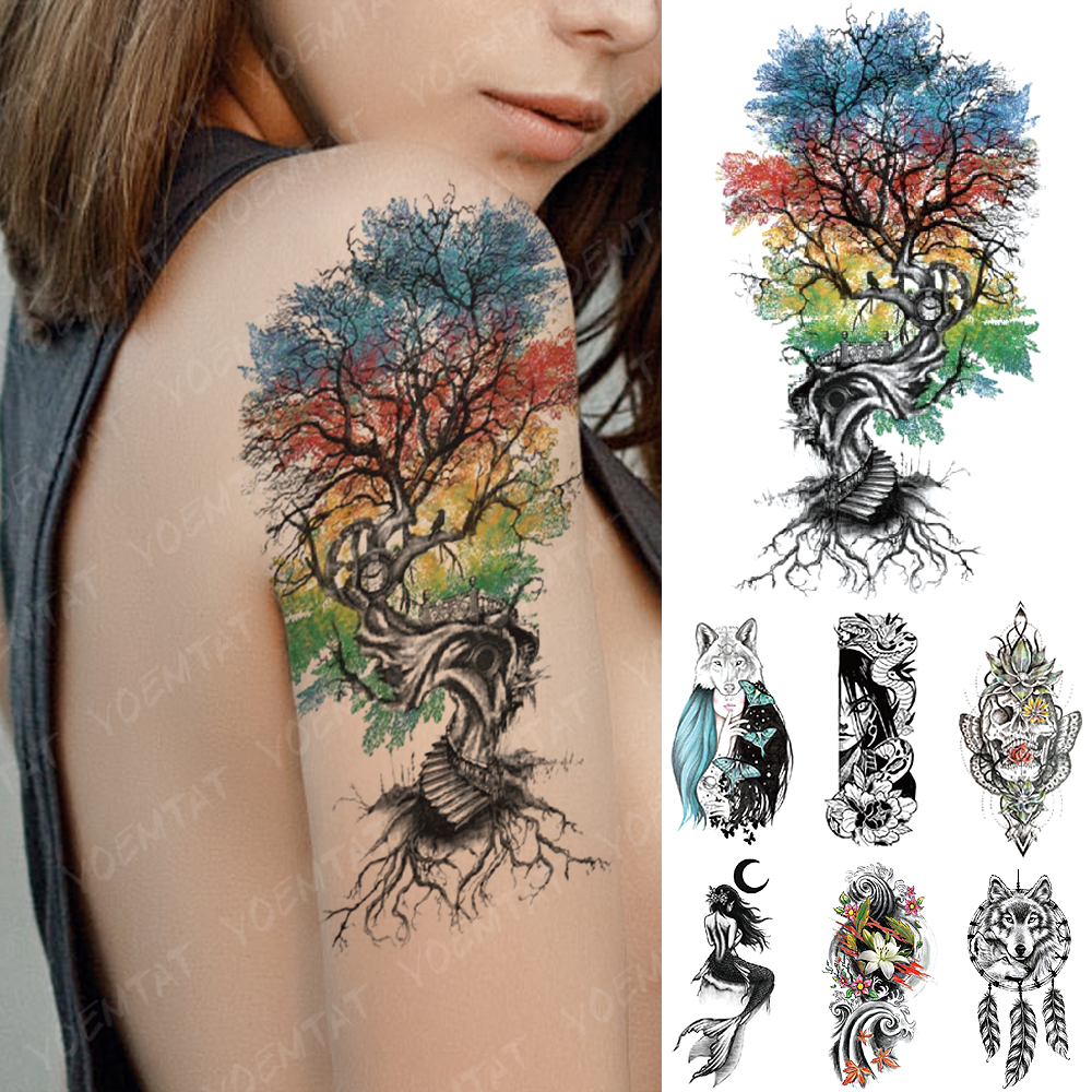 Waterproof Temporary Tattoo Sticker Ladder Color Tree Flash Tatto Wolf Harajuku Lily Mermaid Body Art Arm Fake Tatoo Women Men