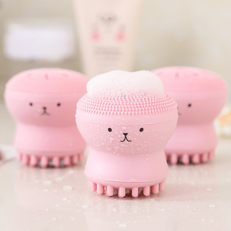 Lovely Cute Animal Shape Small Octopus Silicone Facial Cleansing Brush Deep Pore Scrub Face Washing Brush Skin Care
