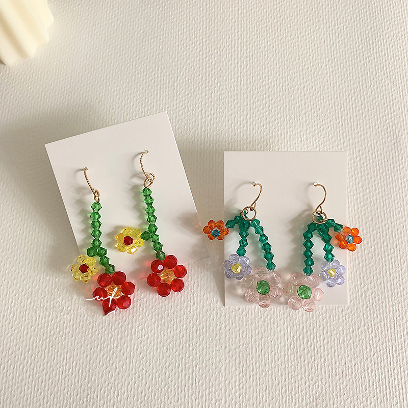 AOMU 2020 Korea Spring Handmade Braided Colorful Crystal Bead Fruit Flower Long Tassel Drop Earrings for Women Jewelry Gifts(China)