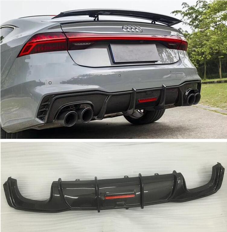 High Quality Carbon fiber <font><b>Rear</b></font> Bumper Lip Spoiler <font><b>Diffuser</b></font> Cover For <font><b>Audi</b></font> <font><b>A7</b></font> S7 RS7 2019 2020 2021 Year (With Lamp) image