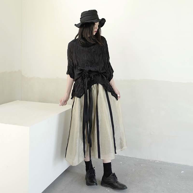 [EAM] Women Black Pleated Irregular Split Big Size T-shirt New Round Neck Half Sleeve  Fashion Tide  Spring Summer 2020 1W318 3
