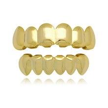 Набор золотых зубных коронок в стиле хип хоп верхние и нижние