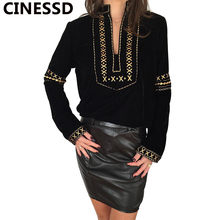 CINESSD Ethnic Print Women Blouses Casual Tops Stand Collar Long Sleeves Loose Office Ladies Pullover Tee Shirts Tunic Blouses grid pattern long sleeves blouses