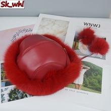Hats Bomber-Hat Russian Ushanka Winter Natural Real Women Warm Thick Fur Fox-Fur-Cap