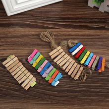 Log color Color Durable Simple and beautiful small wooden clip diy3.5cm Hemp rope photo decoration Daily