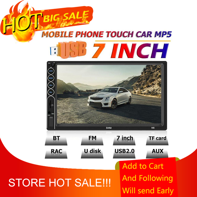 SWM N6 2DIN 7 inch Touch Screen Bluetooth Car Stereo Video MP4 MP5 Player USB AUX FM Car Radio Backup Camera Multimedia Player