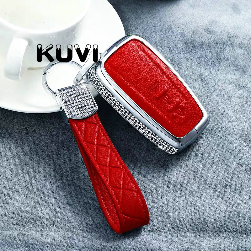 Luxury Diamond Alloy Leather Key fob Case for Toyota Camry 2017 2018 CHR Prius Corolla RAV4 Remote 3 Button Keyless Cover Case|Key Case for Car| |  - title=