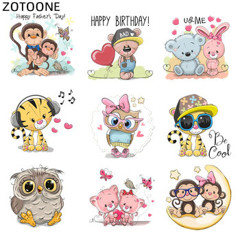 ZOTOONE Iron on Animal Patch Monkey Owl Rabbit Stickers for Clothing Application DIY Heat Transfers Appliques Washable Patches D image