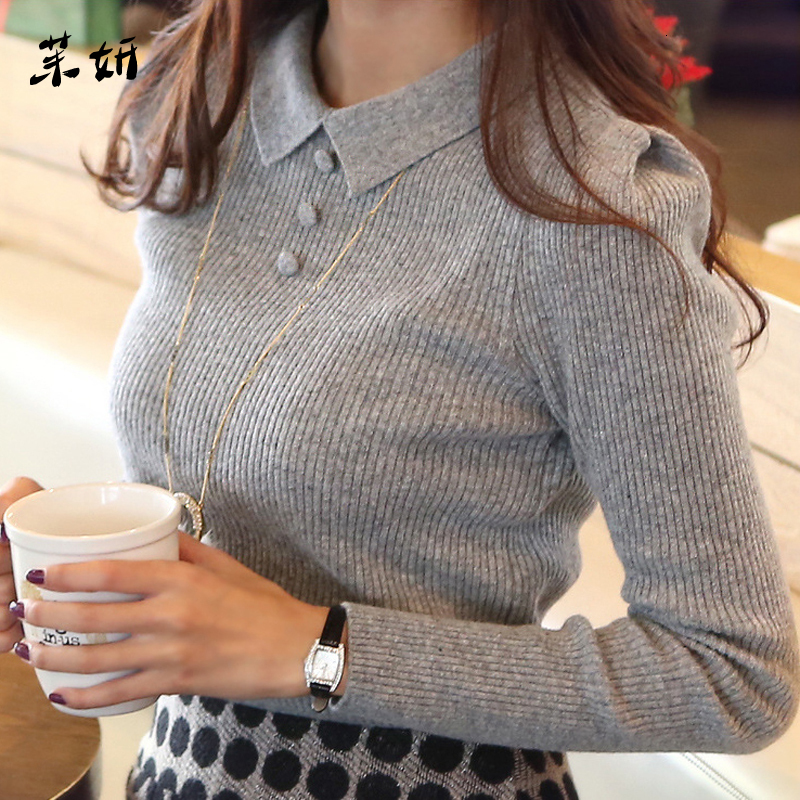 Casual Fashion Autumn Winter Knitted Women Sweaters And Pullovers Solid Buttons Work Office Pullover Slim Sueter Mujer