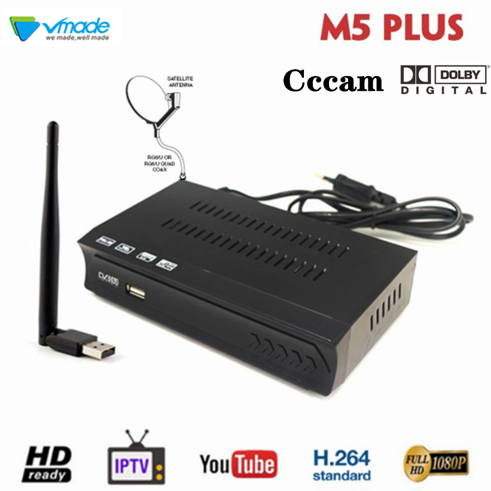 DVB-S2 Satellite Receiver   USB WiFi dongle Adapter Mini antenna support Built in WiFi software IPTV Cccamd Newcamd Set top box
