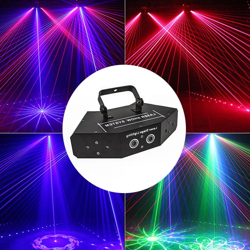 Лазерный проектор с 6 линзами RGB, светодиодный сценический сканер DMX с цветными точечными эффектами, вечерние лазерные Прожекторы для дискот...