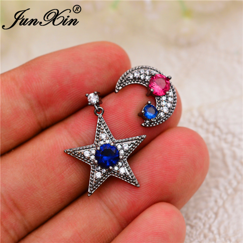 Cute Star Moon Stud Earrings For Women Black Gold Round Blue Stone Red White Zircon Wedding Earrings Female Luxury Jewelry Gifts
