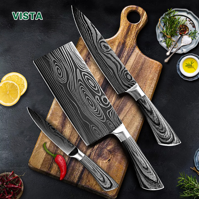 Laser Etched 7Cr17 Stainless Steel Chef Knife Set 1