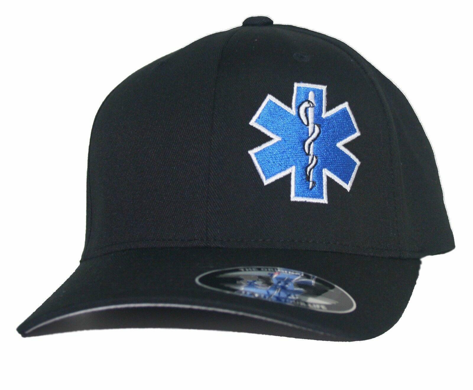 Printed EMT Star Of Life Fitted Hat Paramedic Cross EMS Fire Rescue