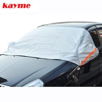 Kayme Universal Car pół okładki osłona przeciwsłoneczna stylizacja folia wodoodporna zagęścić samochód śnieg tarcza Anti-UV śniegoodporny pokrowce na samochody tanie i dobre opinie CN (pochodzenie) 1 5m Aluminum Peva vs PPcotton Plandeki samochodowe Snowproof sun protection 0 6kg 1 2m Silver Fit sedan hatchback