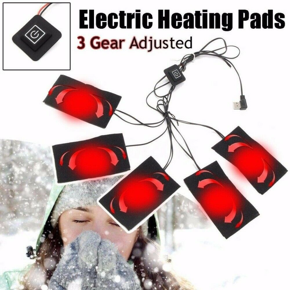 3/5/6/8 In 1 Set USB Electric Heating Pad Heated Jacket Outdoor Themal Warm Winter Heating Vest Pads For DIY Clothes Heater