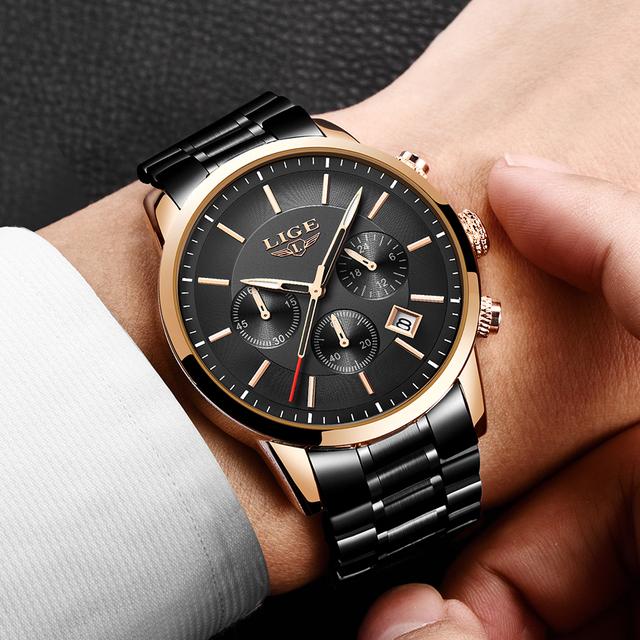 2019 Watches Mens Luxury Brand LIGE Business Men's Watch with Luminous Date Waterproof Full Steel Quartz Clock Relogio Masculino