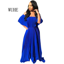 WUHE Women Maxi Dress Sexy Off Shoulder Chiffon Party Elegant Loose Fashion Solid Pleated Dresses Vestidos Verano