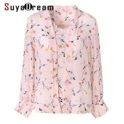 SuyaDream Women Floral Printed Silk Blouse 100%Real Silk Long Sleeved Bow Collar Blouses 2020 Spring Shirt