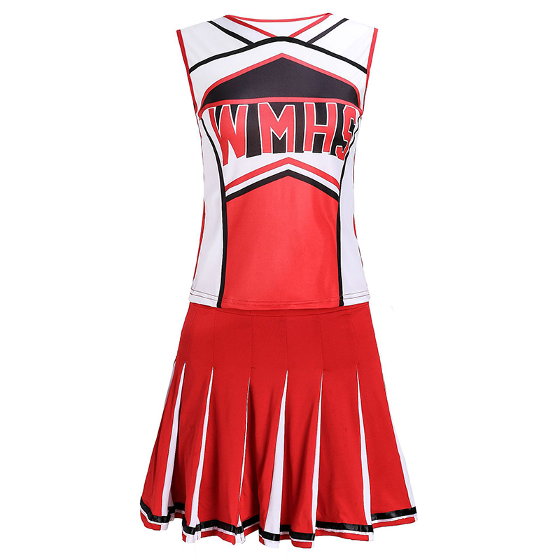 Red Girl's Cheerleader Dress High School Girl Cheerleading Uniform Sports Cheer Leader Dress Tank Tops+Skirts Dancing Uniform