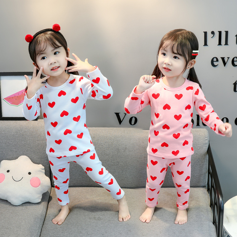 Girls Heart Underwear Suit 2019 Autumn New Style Childrenswear Korean-style GIRL'S Long Sleeve Pajamas Piece Tracksuit